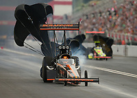 Jun 17, 2017; Bristol, TN, USA; NHRA top fuel driver Mike Salinas during qualifying for the Thunder Valley Nationals at Bristol Dragway. Mandatory Credit: Mark J. Rebilas-USA TODAY Sports