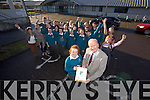 Cathy Hughes presenting a Pendant to the Mayor of Tralee, Jim Finnucane on behalf of the Interact Club(Young Rotarians) from Mercy Mounthawk.  After giving a talk on Community Services, Pictured with TY Students on Friday