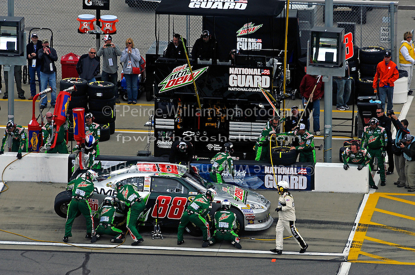 Dale Earnhardt,Jr. (#88) makes a pit stop