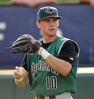 June 5, 2008: Outfielder Skyler Stromsmoe (10) of the Augusta GreenJackets, Class A affiliate of the San Francisco Giants, prior to a game against the Greenville Drive at Fluor Field at the West End in Greenville, S.C. Photo by:  Tom Priddy/Four Seam Images