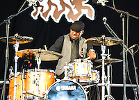 Terence Higgins, Ike Stubblefield, and Grant Green, Jr. playing at Jazz Fest 2011 in New Orleans, LA on day 1.