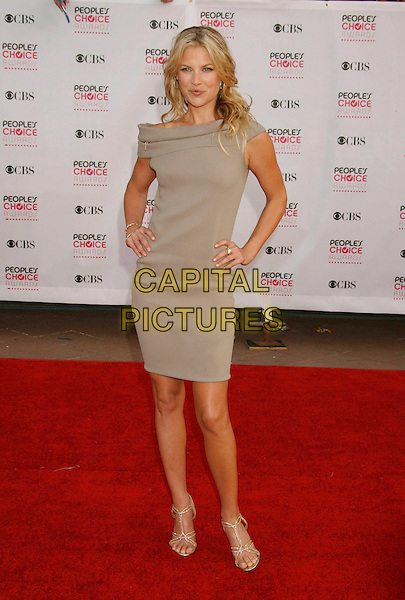 ALI LARTER.The 33rd Annual People's Choice Awards held at The Shrine Auditorium, Los Angeles, California, USA..January 9th, 2007.full length dress grey gray off the shoulder hands on hips.CAP/ADM/RE.©Russ Elliot/AdMedia/Capital Pictures