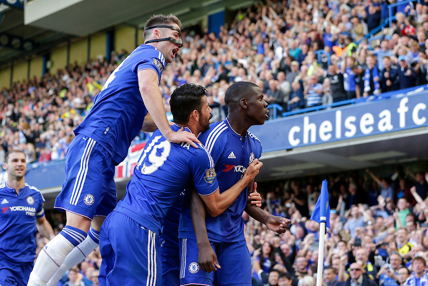 Chelsea's Kurt Zouma celebrates scoring the opening goal with team-mates<br /> <br /> Photographer Craig Mercer/CameraSport<br /> <br /> Football - Barclays Premiership - Chelsea v Arsenal - Saturday 19th September 2015 - Stamford Bridge - London<br /> <br /> &copy; CameraSport - 43 Linden Ave. Countesthorpe. Leicester. England. LE8 5PG - Tel: +44 (0) 116 277 4147 - admin@camerasport.com - www.camerasport.com