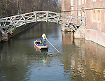 Punting on the River Cam by the Mathematical Bridge, Cambridge, England