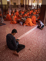 Buddhist Monks at a Monastery outside Phnom Penh, Cambodia. Chin Puskak, Temple,
