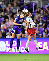 Orlando, FL - Saturday July 07, 2018: Alanna Kennedy, Tori Huster during the first half of a regular season National Women's Soccer League (NWSL) match between the Orlando Pride and the Washington Spirit at Orlando City Stadium.