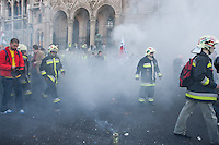 Firemen attend an anti-government rally to protest in front of the Parliament against the government's austerity measures in Budapest, Hungary on May 06, 2011..The government has launched a package of fiscal reforms to cut the budget deficit, including scrapping early retirement, which mostly affects law enforcement personnel. ATTILA VOLGYI
