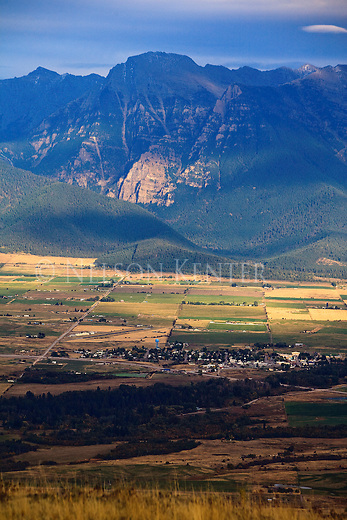 Mission Mountains and valley at St. Ignatius, Montana