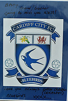 """Pictured is a gift to Richard from a man he met the night before he died.<br /> Re: The parents of Richard Best, who died in an accident that left him with a serious head injuries after tripping over his own flip flop have paid tribute to him as """"a life-long Cardiff supporter who touched the hearts of everyone"""".<br /> Around 1,000 will attend the funeral of Richard Best, who died in the accident in the early hours of July 3, 2018.<br /> """"He was so well loved by everyone."""" said his mum Pam.<br /> """"I just can't believe how many hearts he touched. I find it hard to still accept it, at times I am in denial and other times I realise what has happened.""""<br /> The family's home in Baglan, south Wales has been inundated with cards and flowers since Richard, who worked at the steelworks in Port Talbot, was found with a head injury."""