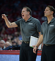 NWA Democrat-Gazette/ANDY SHUPE<br /> Arkansas assistant coach Clay Moser directs his players Saturday, Nov. 30, 2019, alongside coach Eric Musselman during the second half of play against Northern Kentucky in Bud Walton Arena. Visit nwadg.com/photos to see more photographs from the game.