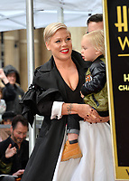LOS ANGELES, CA. February 05, 2019: Pink &amp; Jameson Moon Hart at the Hollywood Walk of Fame Star Ceremony honoring singer Pink.<br /> Pictures: Paul Smith/Featureflash
