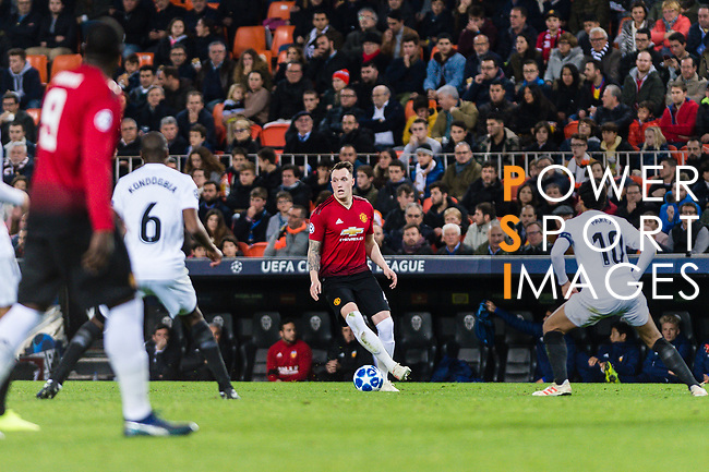 Phil Jones of Manchester United (C) in action during the UEFA Champions League 2018-19 match between Valencia CF and Manchester United at Estadio de Mestalla on December 12 2018 in Valencia, Spain. Photo by Maria Jose Segovia Carmona / Power Sport Images