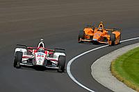 Verizon IndyCar Series<br /> Indianapolis 500 Carb Day<br /> Indianapolis Motor Speedway, Indianapolis, IN USA<br /> Friday 26 May 2017<br /> James Davison, Dale Coyne Racing Honda, Fernando Alonso, McLaren-Honda-Andretti Honda<br /> World Copyright: F. Peirce Williams