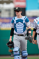 Charlotte Knights Zack Collins (8) walks to the dugout from the bullpen before an International League game against the Rochester Red Wings on June 16, 2019 at Frontier Field in Rochester, New York.  Rochester defeated Charlotte 3-2 in the second game of a doubleheader.  (Mike Janes/Four Seam Images)