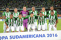 MEDELLIN- COLOMBIA - 17-08-2016: Los Jugadores de Atletico Nacional de Colombia, posan para una durante partido de vuelta de la primera fase por la Copa Suramericana entre Atletico Nacional de Colombia y Deportivo Municipal de Peru, en el estadio Atanasio Girardot de la ciudad de Medellin.  / The players of Atletico Nacional of Colombia, pose for a photo during a match for the second leg of the first phase between Atletico Nacional of Colombia and Deportivo Municipal of Peru, for the Copa Suramericana in the Atanasio Girardot stadium, in Medellin city. Photo: VizzorImage / Leon Monsalve / Cont.