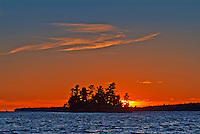 Island on Lake of teh Woods at sunset <br /> Morson<br /> Ontario<br /> Canada