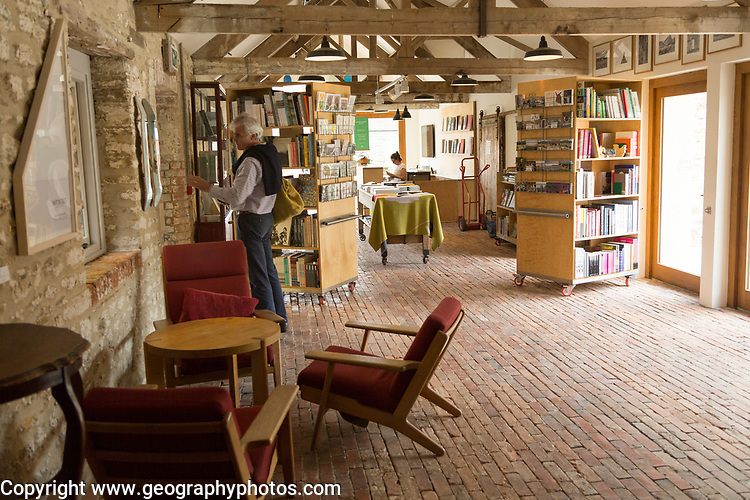 Hauser and Wirth art gallery, restaurant and garden, Durslade Farm, Bruton, Somerset, England, UK book shop interior