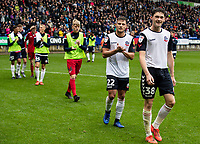 Bolton Wanderers' Dennis Politic and Joe White (right) acknowledge the applause from the crowd at the end of the match<br /> <br /> Photographer Andrew Kearns/CameraSport<br /> <br /> The EFL Sky Bet Championship - Bolton Wanderers v Coventry City - Saturday 10th August 2019 - University of Bolton Stadium - Bolton<br /> <br /> World Copyright © 2019 CameraSport. All rights reserved. 43 Linden Ave. Countesthorpe. Leicester. England. LE8 5PG - Tel: +44 (0) 116 277 4147 - admin@camerasport.com - www.camerasport.com