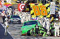 Mark Martin pits after an early accident in the Daytona 500, Daytona International Speedway, Daytona beach, Florida, February 20, 2011.  (Photo by Brian Cleary/www.bcpix.com)