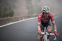Team Trek-Segafredo winter training camp with Alberto Contador up the misty Tiede Volcano in Tenerife on his customised Trek Emonda<br /> <br /> january 2017, Tenerife/Spain