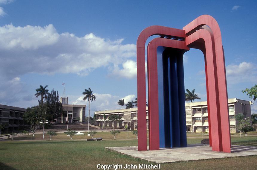 Abstarct metal sculpture in front of government buildings in in Belmopan, Belize