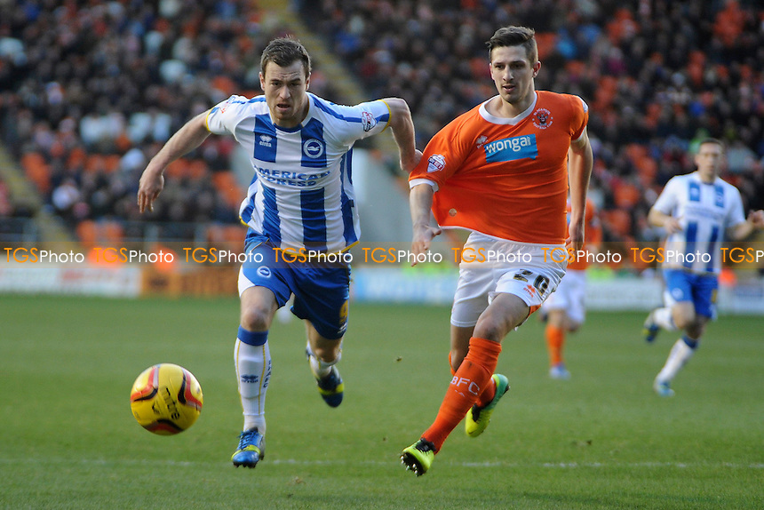 Ashley Barnes of Brighton and Hove Albion vies for the ball with Craig Cathcart of Blackpool - Blackpool vs Brighton & Hove Albion - Sky Bet Championship Football at Bloomfield Road, Blackpool, Lancashire - 29/12/13 - MANDATORY CREDIT: Greig Bertram/TGSPHOTO - Self billing applies where appropriate - 0845 094 6026 - contact@tgsphoto.co.uk - NO UNPAID USE