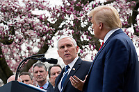 United States Vice President Mike Pence, joined by United States President Donald J. Trump, members of the Coronavirus Task Force, and Industry Executives, speaks during a news conference in the Rose Garden at the White House in Washington D.C., U.S., on Friday, March 13, 2020.  Trump announced that he will be declaring a national emergency in response to the Coronavirus.  Credit: Stefani Reynolds / CNP/AdMedia