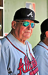 25 September 2010: Atlanta Braves Manager Bobby Cox sits in the dugout prior to a game against the Washington Nationals at Nationals Park in Washington, DC. The Braves shut out the Nationals 5-0 to even their 3-game series at one win apiece. The victory was the 2500th career win as an MLB manager for Braves' skipper Bobby Cox. Cox will retire at the end of the 2010 season, crowning a 29-year managerial career. Mandatory Credit: Ed Wolfstein Photo