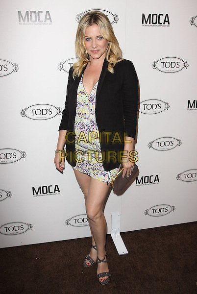 JESSICA CAPSHAW.Tod's Beverly Hills boutique Grand Opening held At Tod's Boutique, Beverly Hills, California, USA. .April 15th, 2010 .full length black jacket blazer white blue green yellow print mini dress grey gray sandals open toe clutch bag.CAP/ADM/KB.©Kevan Brooks/AdMedia/Capital Pictures.