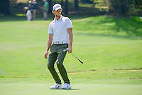 Thomas Pieters (BEL) reacts to missing his putt on 1 during round 1 of the World Golf Championships, Mexico, Club De Golf Chapultepec, Mexico City, Mexico. 3/2/2017.<br /> Picture: Golffile | Ken Murray<br /> <br /> <br /> All photo usage must carry mandatory copyright credit (&copy; Golffile | Ken Murray)