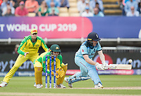 Eoin Morgan (England) reverse sweeps for a boundary during Australia vs England, ICC World Cup Semi-Final Cricket at Edgbaston Stadium on 11th July 2019