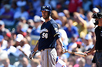 Milwaukee Brewers pitcher Mike Fiers (50) at bat during a game against the Chicago Cubs on August 14, 2014 at Wrigley Field in Chicago, Illinois.  Milwaukee defeated Chicago 6-2.  (Mike Janes/Four Seam Images)