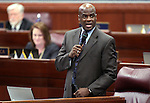 Nevada Assemblyman Kelvin Atkinson, D-North Las Vegas, speaks on the Assembly floor Tuesday, April 26, 2011, at the Legislature in Carson City, Nev. .Photo by Cathleen Allison