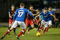 Blackburn Rovers' Elliott Bennett runs through Portsmouth's Ben Close and Dion Donohue <br /> <br /> Photographer Andrew Kearns/CameraSport<br /> <br /> The EFL Sky Bet League One - Portsmouth v Blackburn Rovers - Tuesday 13th February 2018 - Fratton Park - Portsmouth<br /> <br /> World Copyright &copy; 2018 CameraSport. All rights reserved. 43 Linden Ave. Countesthorpe. Leicester. England. LE8 5PG - Tel: +44 (0) 116 277 4147 - admin@camerasport.com - www.camerasport.com