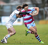 Jake Henry of Rotherham Titans takes on the Bedford defence. Greene King IPA Championship match, between Rotherham Titans and Bedford Blues on January 17, 2018 at Clifton Lane in Rotherham, England. Photo by: Patrick Khachfe / Onside Images