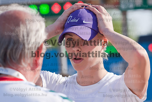 Hungary's Leila Gyenesei prepares during the Modern Pentathlon Women's World Cup held in Budapest, Hungary on May 07, 2011. ATTILA VOLGYI