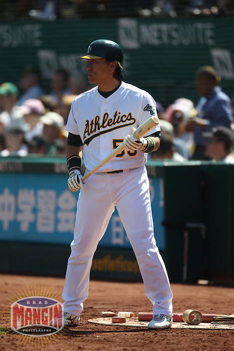 OAKLAND, CA - SEPTEMBER 5: Hideki Matsui #55 of the Oakland Athletics waits in the on deck circle against the Kansas City Royals during the game at O.co Coliseum on September 5, 2011 in Oakland, California. Photo by Brad Mangin