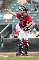 May 2, 2010:  Catcher Allan de San Miguel of the Rochester Red Wings in the field during a game vs. the Durham Bulls at Frontier Field in Rochester, NY.  Rochester defeated Durham in extra innings by the score of 7-6.  Photo By Mike Janes/Four Seam Images