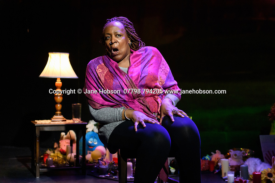 Edinburgh, UK. 30.07.2019. UNTIL THE FLOOD, by Dael Orlandersmith, opens at the Traverse Theatre, as part of the Edinburgh Festival Fringe. The director is Neel Keller, with scenic design by Takeshi Kata, sound design by Justin Ellington, costume design by Kaye Voyce, video design by Nicholas Hussong and lighting design by Mary Louise Geiger. Performed by: Dael Orlandersmith. Photograph © Jane Hobson.