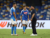 25th July 2020; Stadio San Paolo, Naples, Campania, Italy; Serie A Football, Napoli versus Sassuolo; Gennaro Gattuso coach of Napoli after the game endd speak with player Nikola Maksimovic of Napoli