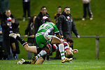 Mark Selwyn dives over in the Lote Raikabula tackle to score the Steelers second try. ITM Cup rugby game between Counties Manukau and Manawatu played at Bayer Growers Stadium on Saturday August 21st 2010..Counties Manukau won 35 - 14 after leading 14 - 7 at halftime.