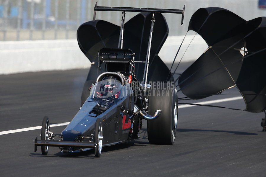 Feb 8, 2014; Pomona, CA, USA; NHRA top alcohol dragster driver Shawn Cowie during qualifying for the Winternationals at Auto Club Raceway at Pomona. Mandatory Credit: Mark J. Rebilas-