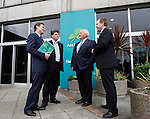 .Enda Corneille, Corporate Affairs Director (left) with Sean Coyle, Chief Financial Officer, Colm Barrington, Chairman and Stephen Kavanagh, Corporate Planning Director of Aer Lingus Plc., pictured here at the company's Interim Results for the six months ending June 30th 2009 held at the headquarters at Dublin Airport. Pic. Robbie Reynolds.