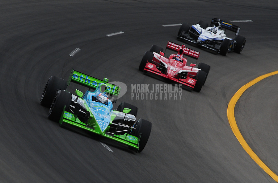 Jun. 21, 2008; Newton, IA, USA; IRL driver Ryan Hunter-Reay leads Dan Wheldon and Marco Andretti during practice for the Iowa Corn Indy 250 at the Iowa Speedway. Mandatory Credit: Mark J. Rebilas-