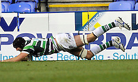 Reading, England. George Skivington of London Irish scores a try during the LV= Cup match between London Irish and Sale Sharks at Madejski Stadium on November 11, 2012 in Reading, England.