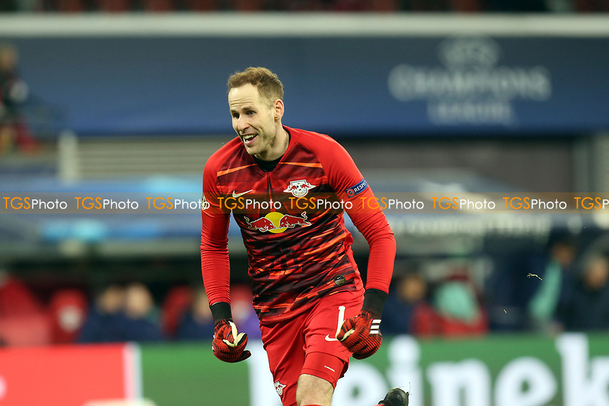 Peter Gulacsi of RB Leipzig celebrates the victory after RB Leipzig vs Tottenham Hotspur, UEFA Champions League Football at the Red Bull Arena on 10th March 2020