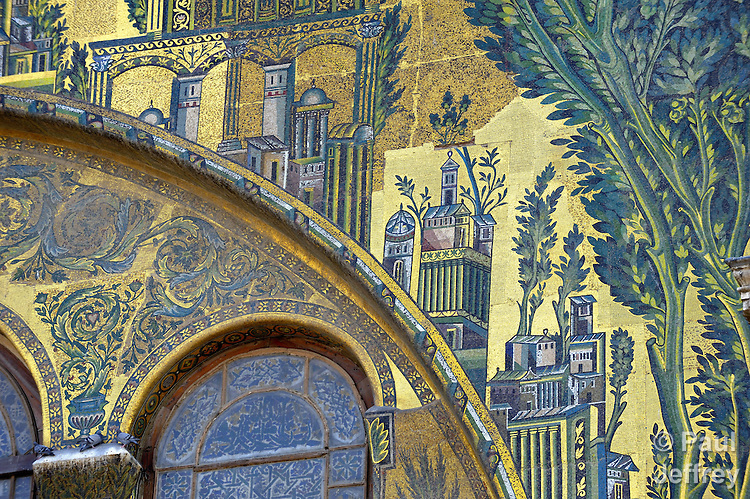 A detail in the Umayyad Mosque, also known as the Grand Mosque of Damascus, is one of the largest mosques in the world, and one of the oldest sites of continuous prayer since the rise of Islam. A shrine in the mosque is said to contain the head of John the Baptist.