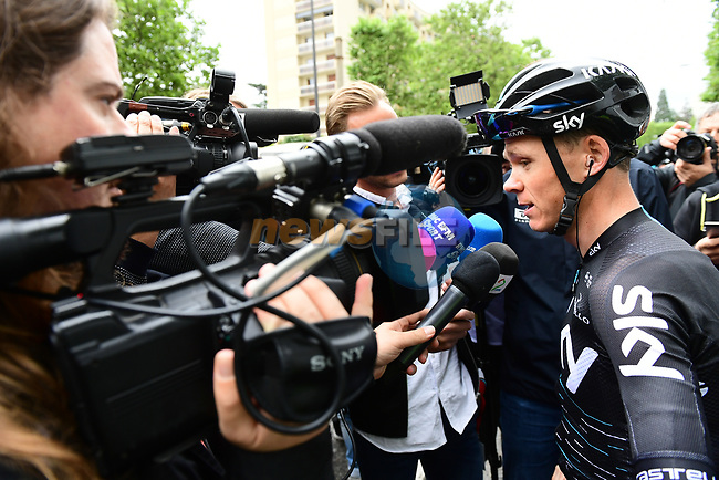 Defending Champion Chris Froome (GBR) Team Sky talks to the media at the team presentation before Stage 1 of the Criterium du Dauphine 2017, running 170.5km from Saint Etienne to Saint Etienne, France. 4th June 2017. <br /> Picture: ASO/A.Broadway | Cyclefile<br /> <br /> <br /> All photos usage must carry mandatory copyright credit (&copy; Cyclefile | ASO/A.Broadway)