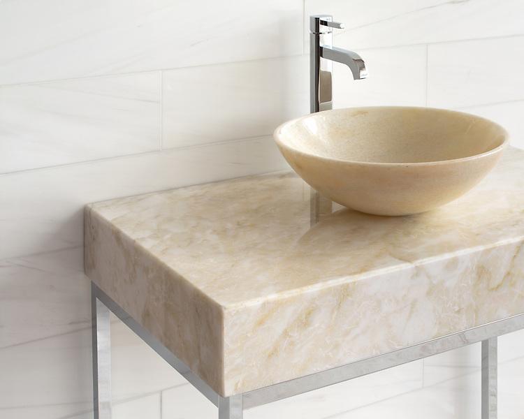Vanity top shown in polished Cloud Nine.