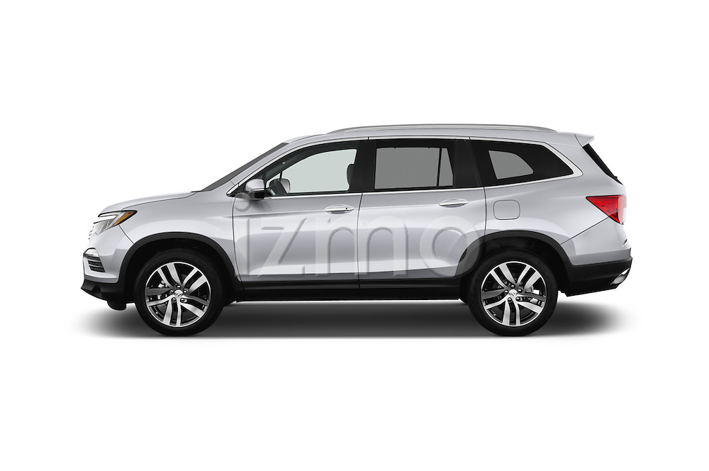 Car Driver side profile view of a 2018 Honda Pilot Touring 5 Door Suv Side View